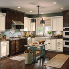 Overton and Wentworth kitchen with contrasting laminate and Maple wood finishes